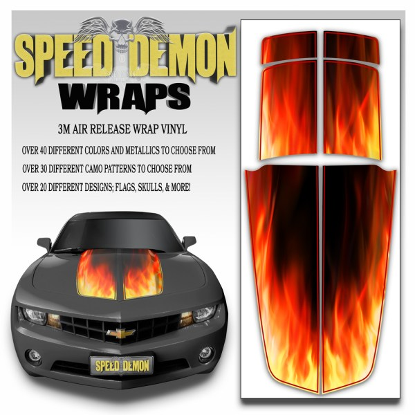 Camaro Stripes Flaming Inferno 2010-2011-2012-2013-2014-2015 With Red Pinstripe