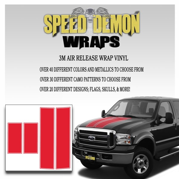 Ford F350 F250 Stripes Red 1999-2000-2001-2002-2003-2004-2005-2006