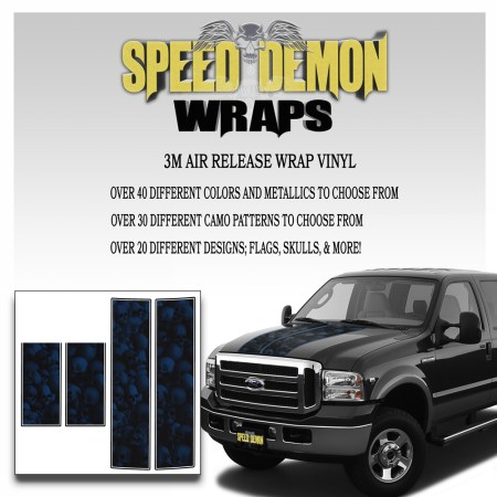 Ford F350-F250 Stripes Skulls Blue Ghosted 1999-2006