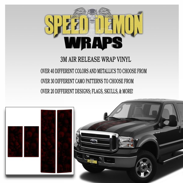 Ford F350-F250 Stripes Skulls Red Ghosted 1999-2006 Red Pinstripe