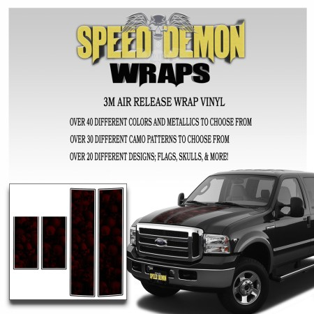 Ford F350-F250 Stripes Skulls Red Ghosted 1999-2006