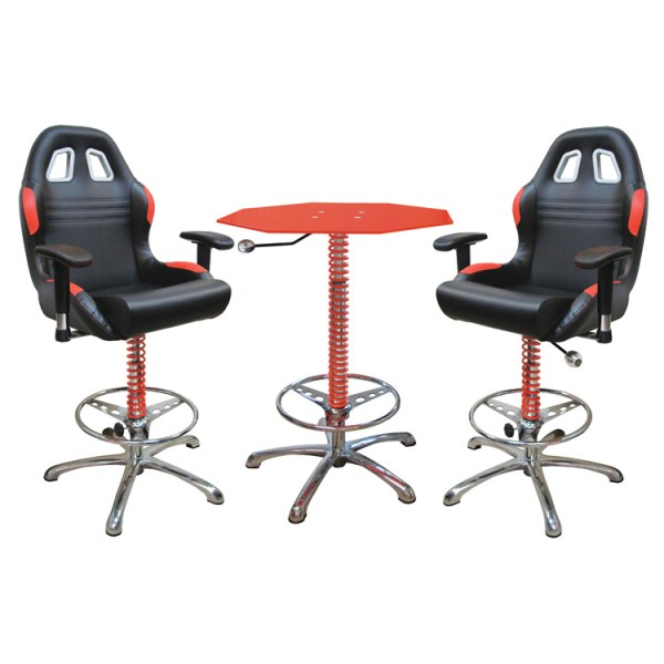 500|SPEEDLAB PitStop Crew Chief Bar Table and Chairs Red