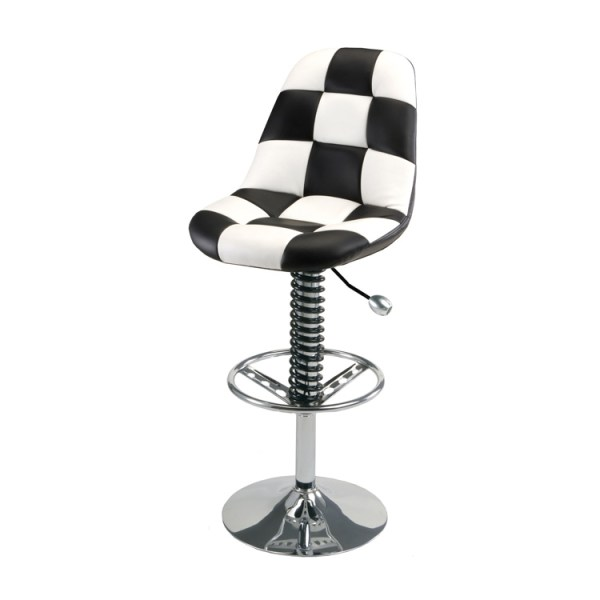500|SPEEDLAB PitStop Pit Crew Bar Chair Black and White Checkers HR1300W