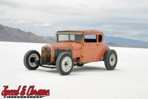 1932 Ford Coupe on the salt at Bonneville Utah