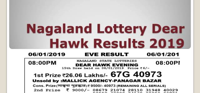 Nagaland Lottery Dear Hawk Results 08/09/2019 Declared Today