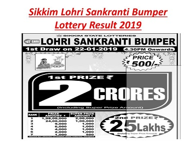 Sikkim Lohri Sankranti Bumper Lottery Result 2019 OUT|22nd