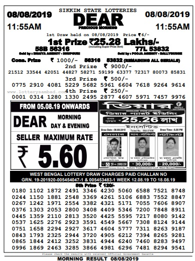 Sikkim Lottery Dear Precious Results 22-08-2019 Today 1st