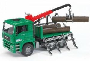 Bruder 2769 Houttransportwagen Man met kraan en boomstammen
