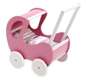 Houten poppenwagen de luxe Pink + gratis dekbedsetje / slaapzakje