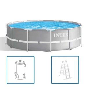 Intex Prism Frame Pool 366 x 99 cm. + filterpomp + ladder