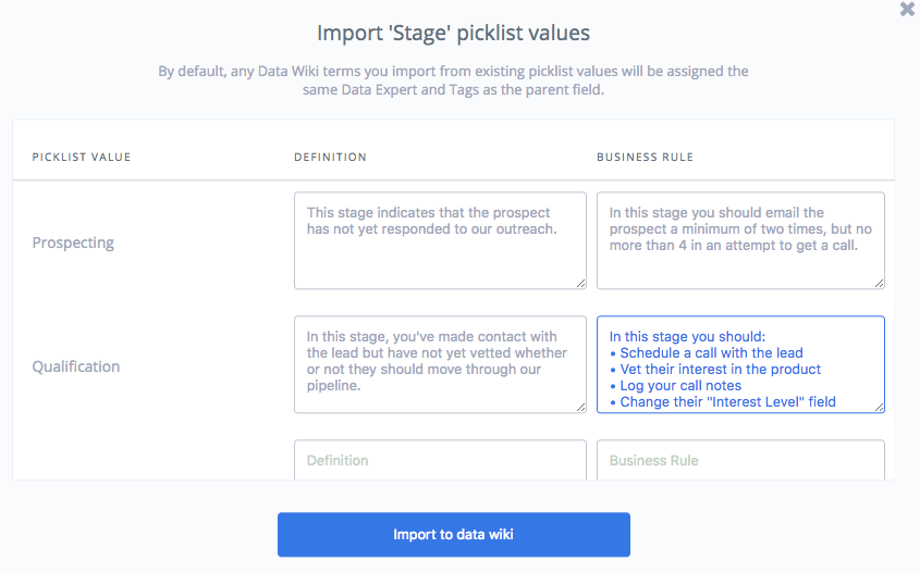 Use Spekit, your Salesforce data dictionary to document each stage of your Sales process