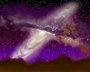 Tabrakan antara dua galaksi menurut impresi seorang artis