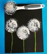 bloemen stempelen met afwaskwast