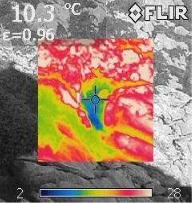 L'entrée d'une cavité observée grâce à la caméra thermique