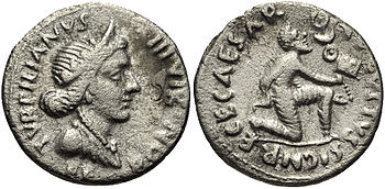 A denarius struck in 19 BC during the reign of...