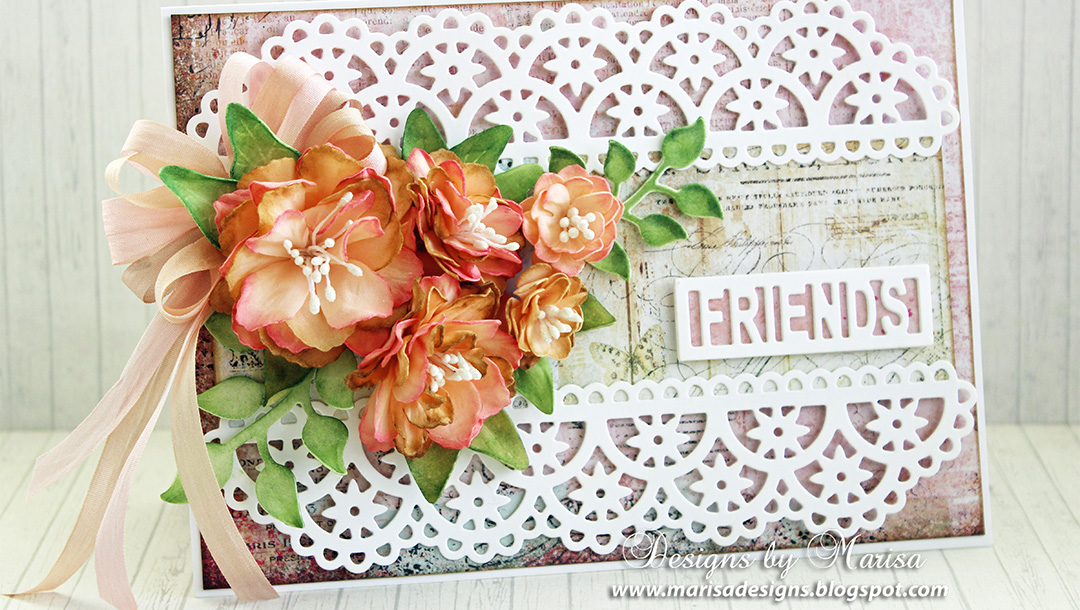 Flowers and Lace Card by Marisa Job for Spellbinders using Flower Lace Borders S4-796, Textured Flowers S5-317, Layered Leaf Vines S4-795, Friends & Family Frames S5-315 dies #spellbinders #diecutting #cardmaking