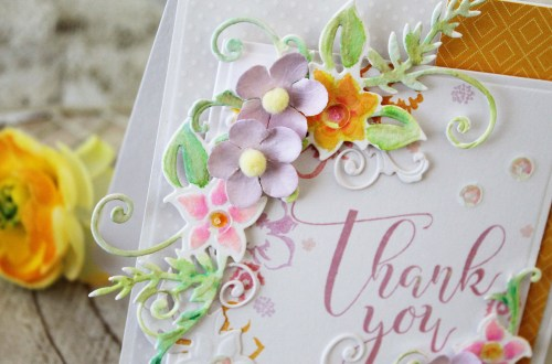 Spellbinders Large Die Of The Month Inspiration | Floral Lace Frame Die Set. Handmade card by Melissa Phillips. #spellbinders #spellbindersClubKits #neverstopmaking #diecutting #handmadecard #thankyoucard