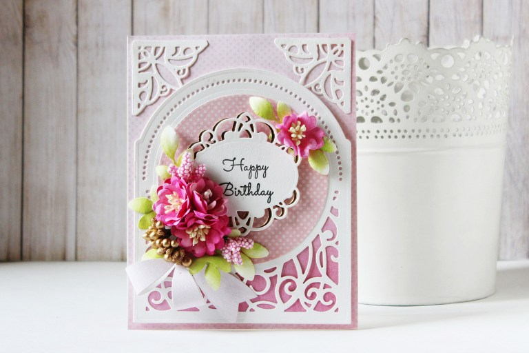 Elegant 3D Vignettes Collection by Becca Feeken - Inspiration   Happy Birthday Card with Hussena. Created using S3-314 Petite Double Bow and Flowers, S4-867 Cinch and Go Flowers III, S5-342 Tiara Rondelle, S6-136 Grand Dome 3D Card, SDS-054 Giving Occasion Stamp and Die Set #cardmaking #diecutting #handmadecard #birthdaycard #spellbinders