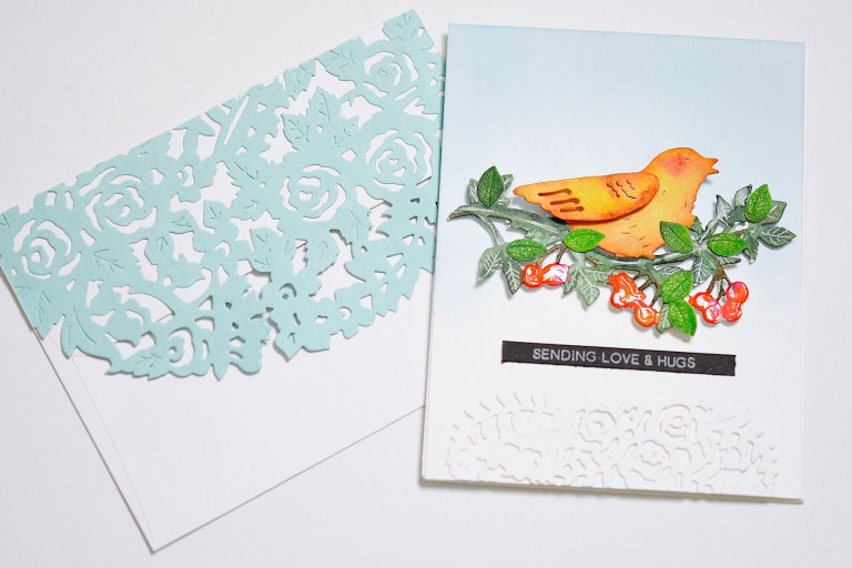 Flower Garden Collection by Sharyn Sowell Inspiration | Bird Of Spring Card with Mayline for Spellbinders using S2-285 Bird on Cherry Branch, S5-334 Floral Gatefold, S4-850 Floral Photo Frame dies #spellbinders #diecutting #neverstopmaking #spellbinderscard