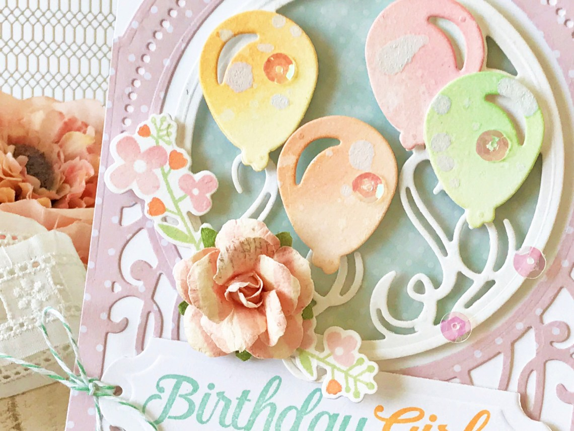 Elegant 3D Vignettes Collection by Becca Feeken - Inspiration   Birthday Card with Melissa for Spellbinders using SDS-116 Oh Happy Day, S6-136 Grand Dome 3D Card, S5-345 Layered Happy Birthday #cardmaking #birthdaycard #handmadecard #diecutting