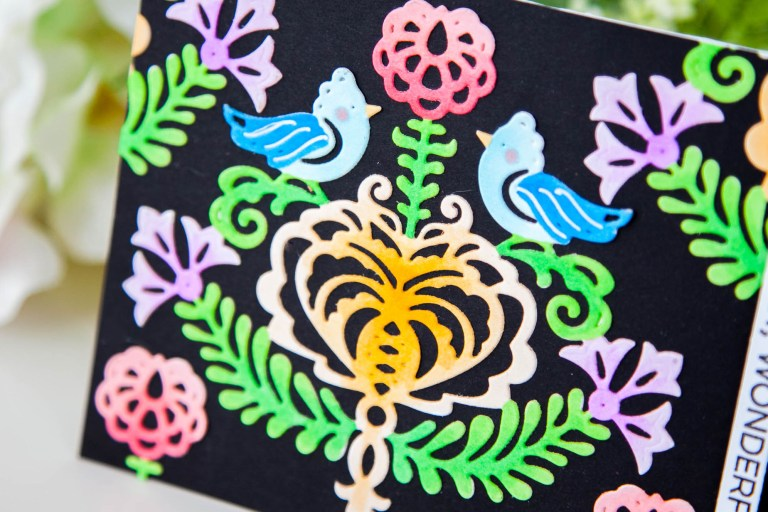 Folk Art Collection Inspiration | Rosemal Heart Card with Keeway for Spellbinders using S4-887 Rosemal Heart dies #spellbinders #neverstopmaking #diecutting #handmadecard