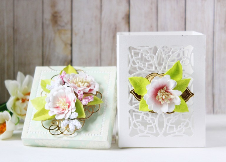 Romancing The Swirl Collection by Becca Feeken - Inspiration   Floral Gift Box and Card with Hussena for Spellbinders using: S4-926 Swirl Tags S4-929 Hemstitch Squares S5-363 Swirl Booklet Insert SDS-116 Oh Happy Day #spellbinders #neverstopmaking #cardmaking #diecutting #handmadecard