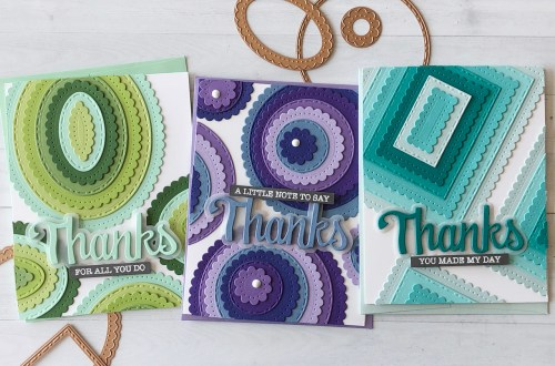 Video Friday | Classics Layered Backgrounds Cards by Nichol Spohr for Spellbinders using: S4-907 Fancy Edged Ovals, S4-903 Fancy Edged Circles, S4-905 Fancy Edged Rectangles, SDS-151 Thanks Expressions #spellbinders #diecutting #handmadecard #neverstopmaking #diecut