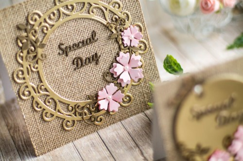 Spellbinders Special Moments Collection by Maria Job - Inspiration | Burlap and Gold Cards with Elena featuring: S5-374 Special Day Frame, S5-376 Miss You Swirl, S5-378 Floral Oval, PLP-003 Platinum Pack 3, PLP-001 Platinum Pack 1 #spellbinders #diecutting #neverstopmaking #handmadecard