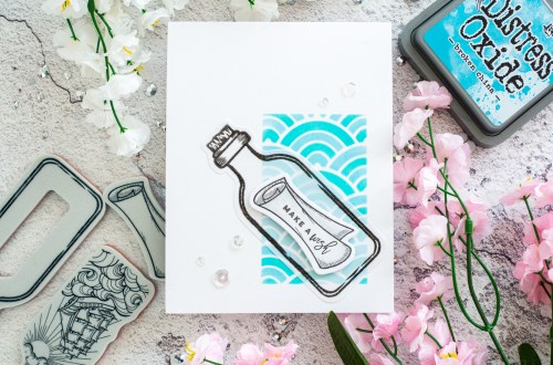 Spellbinders Inked Messages Collection by Stephanie Low - Inspiration | Message in a Bottle Card with Gemma featuring SDS-145 Message In A Bottle #spellbinders #neverstopmaking #cardmaking