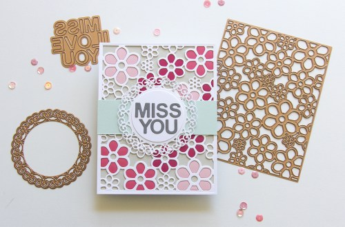 Spellbinders Special Moments Collection by Marisa Job - Inspiration   Flower Background - Inlaid Technique with Jean featuring S5 375 Flower Background, S5-376 Miss You Swirl, S5-374 Special Day Frame #spellbinders #neverstopmaking #diecutting #handmadecard