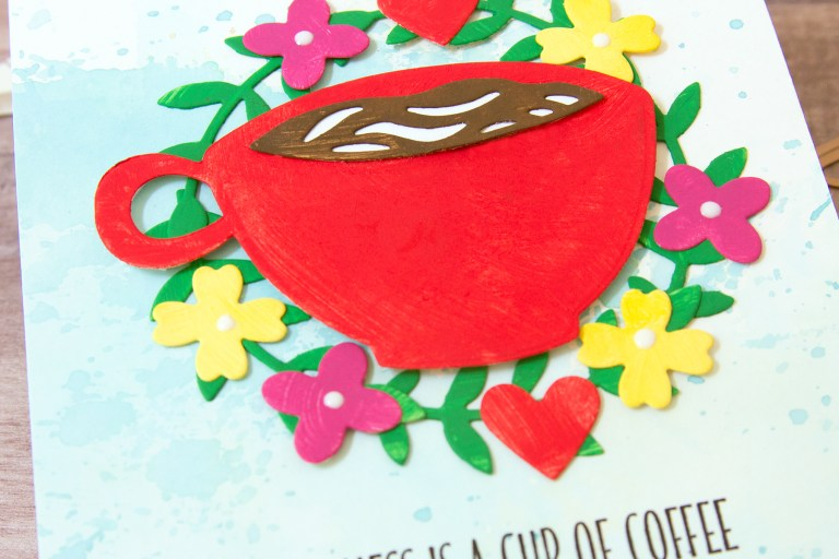 Spellbinders Cuppa Coffee, Cuppa Tea Collection by Sharyn Sowell - Inspiration | Mixed Media Friendship Card by Jean Manis featuring S2-299 Cuppa Love #spelbinders #neverstopmaking #diecutting #handmadecard