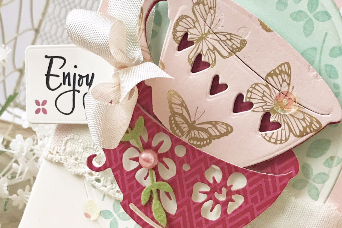 Spellbinders Cuppa Coffee, Cuppa Tea Collection by Sharyn Sowell - Inspiration | Stacked Coffee Cups Card with Melissa Phillips featuring S4-917 Tea Stack o' Cups, S5-332 Hemstitch Ovals #spellbinders #diecutting #sharynsowell #neverstopmaking #handmadecard