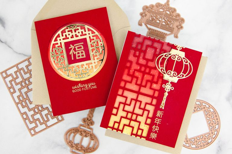 Destinations China collection by Lene Lok - Inspiration   Classic Lunar New Year Cards by Keeway Tsao for Spellbinders