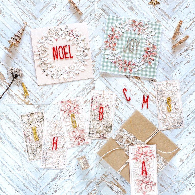 Exquisite Splendor Inspiration   Holiday Tags and Cards by Rebecca Luminarias for Spellbinders