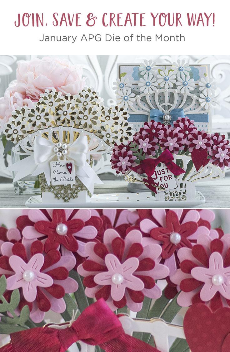 January 2020 Amazing Paper Grace Die of the Month is Here – Pop Up 3D Vignette Bouquet #SpellbindersClubKits #AmazingPaperGraceDieoftheMonth #NeverStopMaking