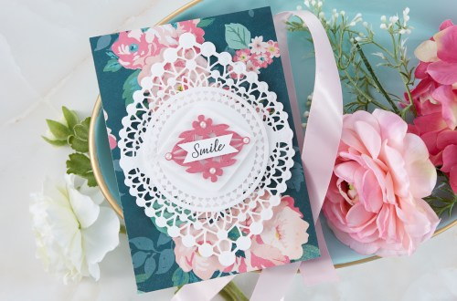 Spellbinders Cardmaking Inspiration | Smile Card Featuring Nobel Chatelaine with Kim Kesti #Spellbinders #NeverStopMaking