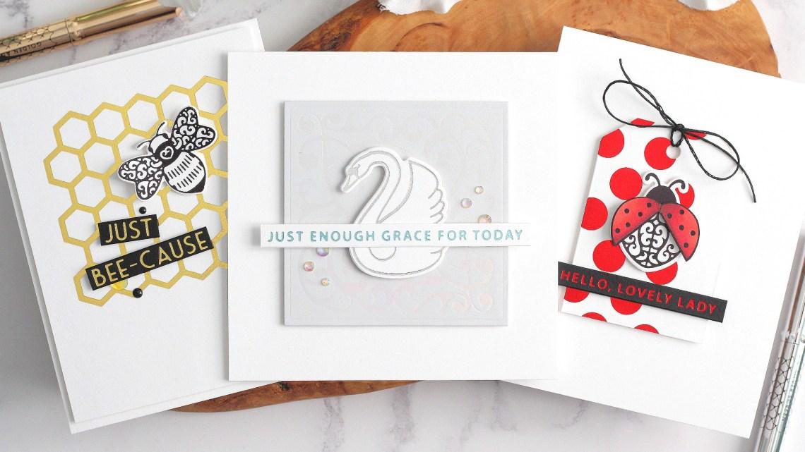 Becca Feeken Sweet Cardlets Glimmer Project Kit | Cardmaking Inspiration with Michelle Short | Video Tutorial #NeverStopMaking #DieCutting #Cardmaking #GlimmerHotFoilSystem