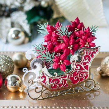 November 2020 Amazing Paper Grace Die of the Month is Here – Pop Up 3D Vignette Poinsettia Sleigh