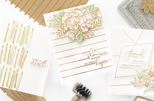 Clean & Simple Foiled Cards featuring Yana's Blooming Birthday Collection with Dilay