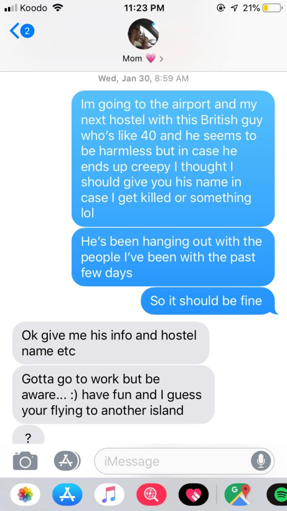 spellbound travels text message about stalker