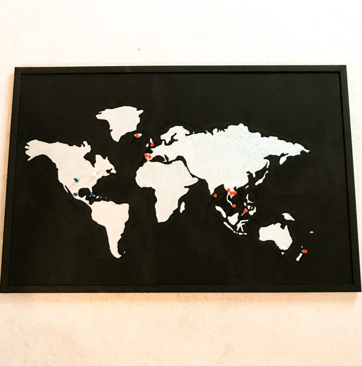 spellbound travels black and white world map cork board