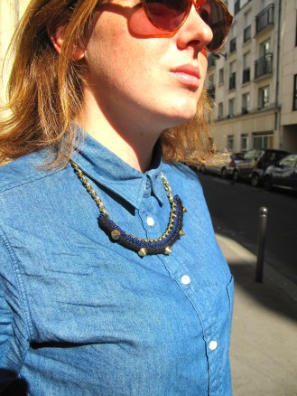 crochet necklace with collared shirt