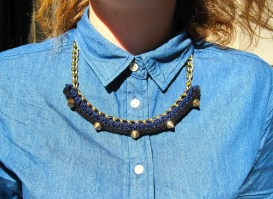 crochet necklace and collared shirt