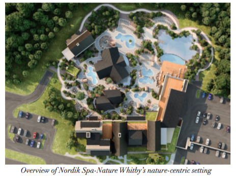 Overview of Thermëa Spa Village | Whitby's nature-centric setting