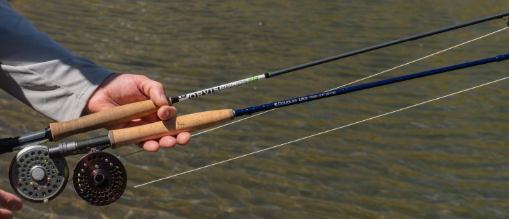 "douglas outdoors lrs next to orvis h3f 8'6"" 4wt fly rod"