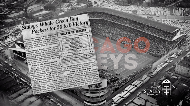 Image of Newspaper with headline: Staleys Whale Green Bay Packers for 20 to 0 Victory