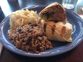 Shaved lamb and brie burrito