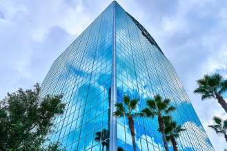 Downtown Orlando, FL high rise office building, with a really interesting reflective effect.