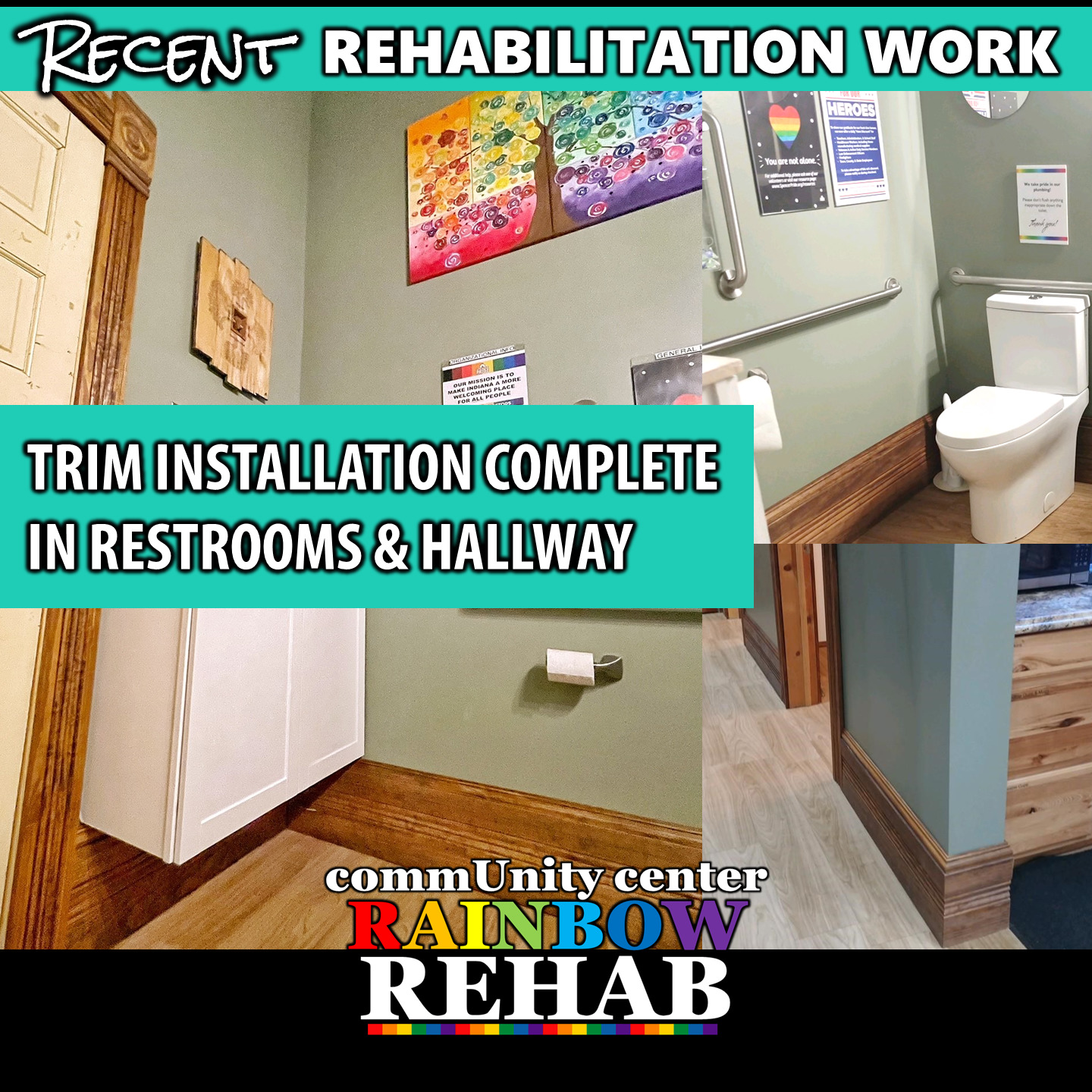 Trim Update - Restrooms and Hall