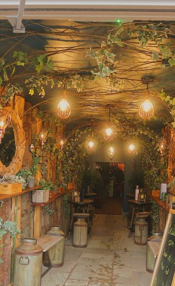 Entrance to Balloon Bar cosy, stylish lights surrounded by greenery